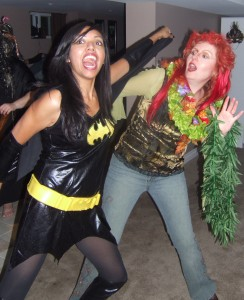 Bat Girl versus Poison Ivy! Two great Halloween costumes