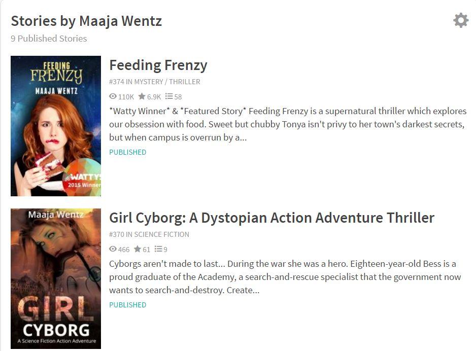 Maaja Wentz Wattpad rankings