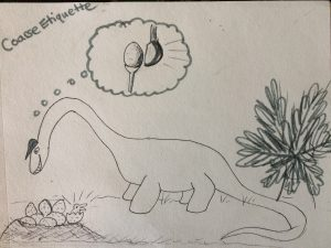 Dino Golf etiquette drawing